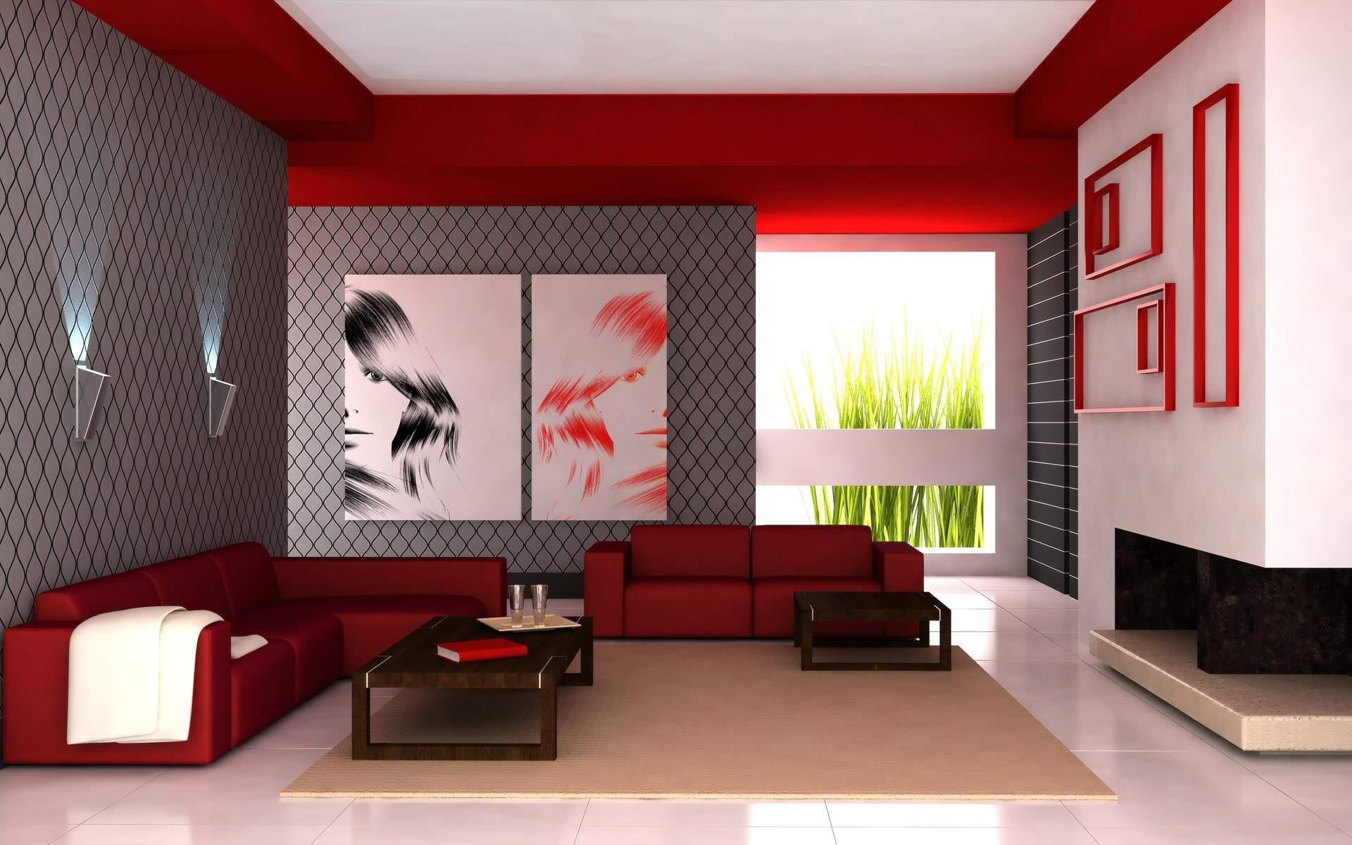 Living Room Apartment Red White, Red White Living Room